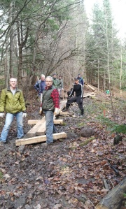 Trail building on trail from 105 at Pine Rd to Winnisic.